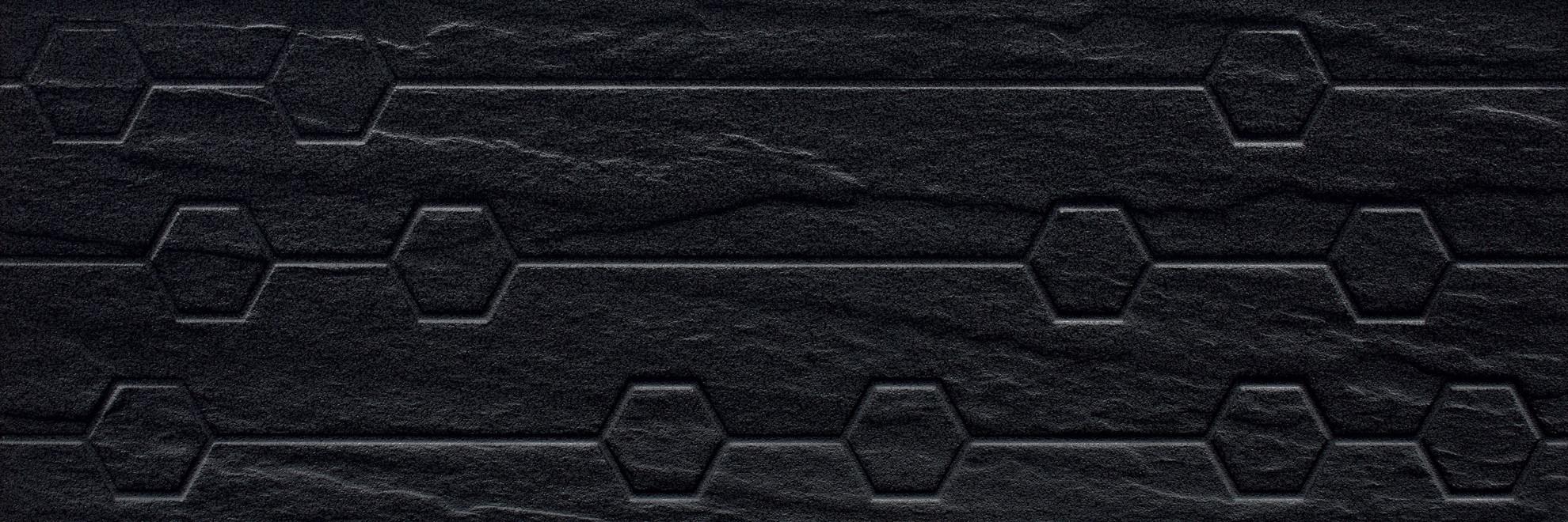 Imagine Titanium Nero Struktura Heksagon 25x75